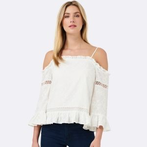 NWOT Lara embroidered flare sleeve top